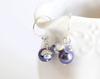 Pearl Cluster Earring, Blue, Cluster Earring, Short Dangle Pearl Earring, Sterling Silver, Iolite Gemstone, Moonstone, Signature Collection