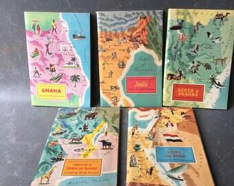 Vintage travel books, illustrated , stickers,