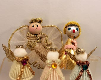 Lot 5 Vintage Christmas Angels Ornaments Decoration Pipe Cleaner Peg Doll Yarn Craft Handmade