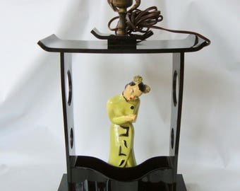 Vintage 50s Moss Black Lucite Pagoda Table Lamp w/ Asian Lady Chartreuse Planter