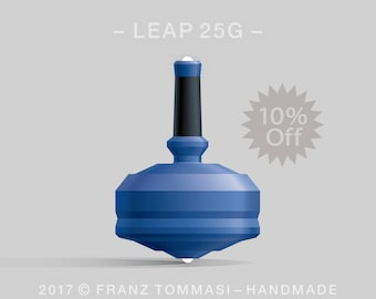 LEAP 25GBlue Spin Top with blue polymer body, ergonomic stem with rubber grip, and dual ceramic tip