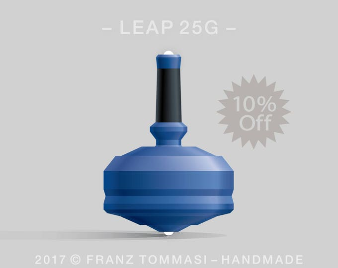 LEAP 25G Blue Spin Top with blue polymer body, ergonomic stem with rubber grip, and dual ceramic tip