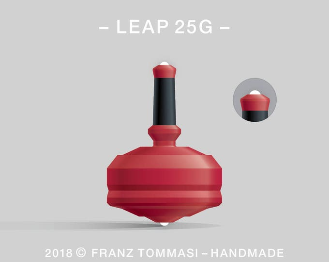 LEAP 25G Red – Precision handmade polymer spin top with dual ceramic tip and rubber grip