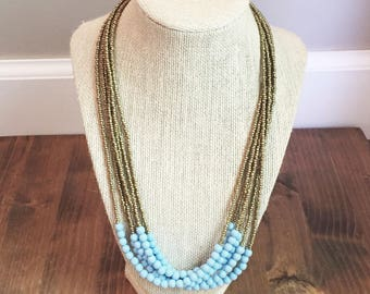 Upcycled Pastel Blue Multi-Strand Necklace