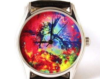 ON SALE 25% OFF Nebula Space Galaxy Watch. Man Watch. Watch Women. Wristwach, Gift Watch. Metal Watch