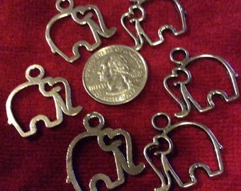 Lot of 6 Elephant Outline Charms