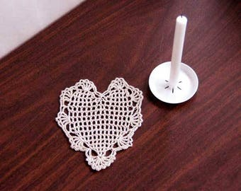 Lace Heart Filet Crochet Doily, Romantic Decor, Gift For Her, New, Petite Victorian Decor Table Accessory, Decoration, Inexpensive Gift