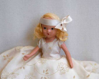 Nancy Ann Storybook Doll, Bisque, A February Fairy Girl for Ice and Snow #188, Blond Hair, Vintage 1940s With Box, Old Bisque Doll