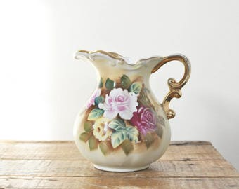 Vintage Enesco Floral Hand Painted China Pitcher Home Decor Display Roses