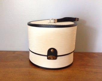 Vintage White Pearl Hat Box