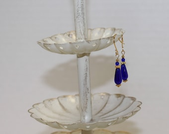 Quality Royal Blue Czech Glass Earrings, Gold-Filled Earwires, Victorian, Civil War Appropriate - Affordable Elegance