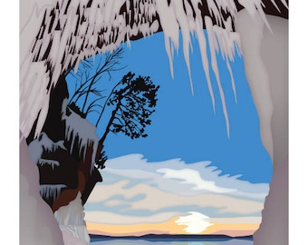Lake Superior Shore Towns Series: Art Deco Apostle Islands Ice Caves - Free Shipping