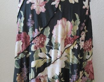 purple, black and beige color floral pattern decoration long length skirt or tube dress plus made in U.SA.  (v152)