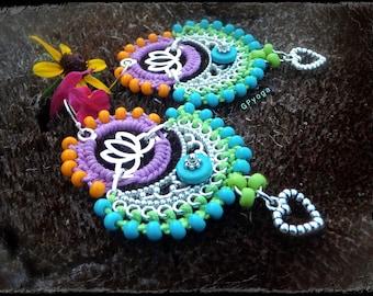 Silver Indie BOHO earrings YOGA Lotus Macrame Bikini jewelry Colorful Summer HEART earrings Mehndi jewelry Festival Love earrings GPyoga