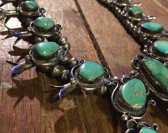 Necklace Navajo ca1920s Squash Blossom Green Turquoise Necklace Handmade bench beads, foxtail style rope chain 10 blossoms  HUGE NAJA