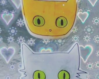 Bestie bff Cat brooch set, Pinback, creepy cute, cat lover, Halloween cat pin, spooky Pinback