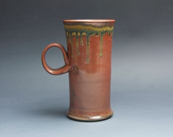Pottery coffee mug, ceramic mug, stoneware tea cup iron red 16 oz 4051