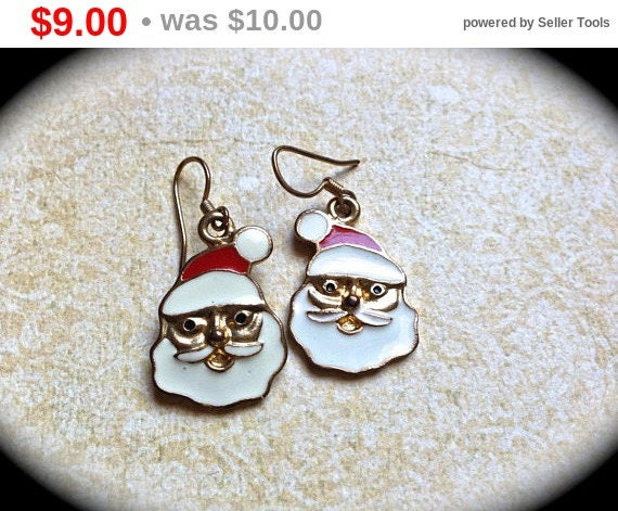Summer Sale Santa Claus Earrings, Christmas Earrings, Holiday Jewelry, Gift for Her, CIJ