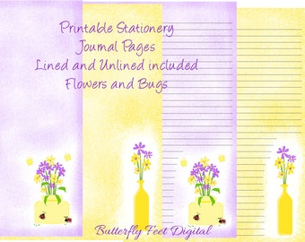 Printable Stationery, Art Journal Pages, Lined and Unlined Paper, Flowers and Bugs, Instant Digital Download