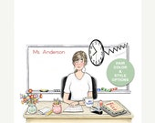 Custom Teacher Notepad With Hairstyle and Hair Color Options  | Teacher at Her Desk | Teacher Gift | Teacher Humor | Back to School