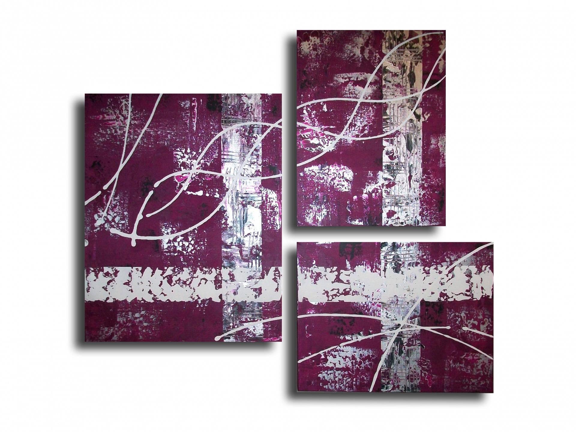 tableau toile triptyque violet prune gris blanc noir moderne. Black Bedroom Furniture Sets. Home Design Ideas