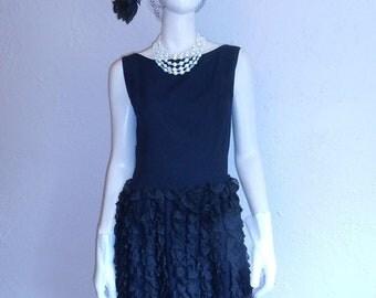 Anniversary Sale 35% Off Classic Cocktail Hour - Vintage 1950s Black Rayon Flamenco Skirt Wiggle Dress - 4/6