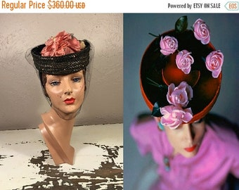 Anniversary Sale 35% Off Roses & Posies Upon My Head - Vintage 1940s WWII Navy Straw Breton w/Flowers Chenille Dot Veil