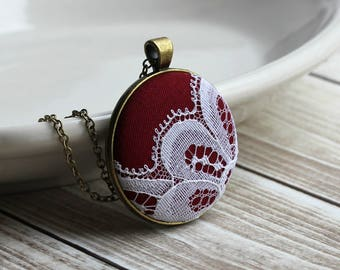 Valentine's Gift Burgundy Necklace, Unique Gift For Women, Anniversary, Fall Wedding, Red And White Cotton, Vintage Lace Jewelry