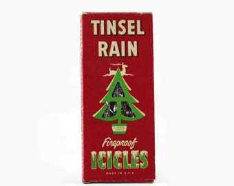 Vintage Christmas Tree Tinsel, Tinsel Rain Fireproof Icicles, Foil Christmas Tree Decorations, 1950s Christmas Decoration