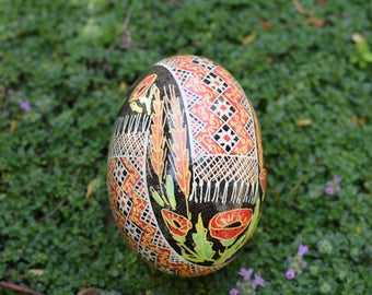 Poppy Pysanka with Ukrainian embroidery runners field flower Gift for mom highly traditional Ukrainian gift for weddings mother of the bride
