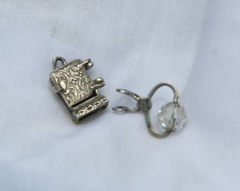 Vintage Sterling Silver Charms, Vintage Ice Box and Tongs