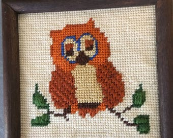 vintage framed needlepoint, cute owl sitting on a branch, finished, framed, 6 by 6 inches