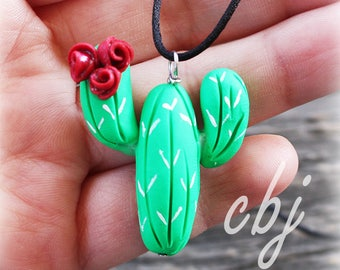 Cactus Charm, Cactus Necklace, Red Flower Polymer Clay on Silk Cord, handmade