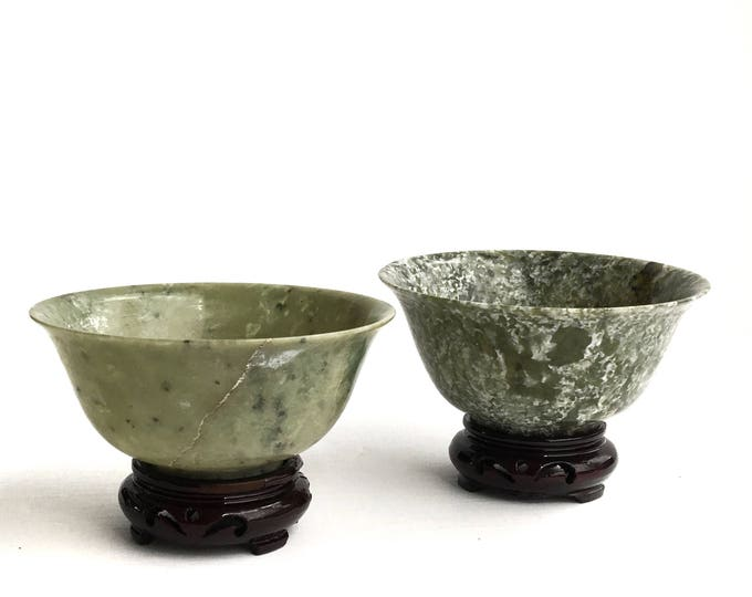 Two Jade Bowls Hand Carved Gemstone
