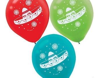 Sombrero Fiesta Cinco de Mayo 12 inch Balloons  Pack of 6