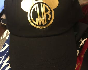Mouse ears monogram dad hat cap