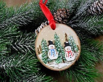Wood Burned Snowman Ornament Birch Slice Christmas Snowmen Hand Burned - Painted