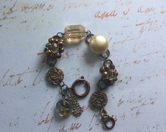 Vintage copper pearls-gems ooak assemblage bracelet~junk gyspy wedding bracelet~unique rose finding