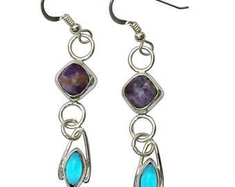 Charoite, Antique Czechoslovakian Glass and Sterling Silver Dangle Earrings  echtf2826