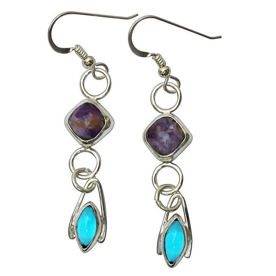 Charoite, Antique Czechoslovakian Glass and Sterling Silver Dangle Earrings  echtf2826
