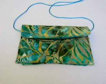 Turquoise Leaves and Butterflies Batik Hip Bag