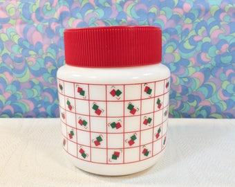 "Vintage 70s 80s Pyrex Arcopal Red & Green Squares Storage Jar Screw Lid 5"""