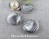 3pcs - 23mm Silver Plated Brass Shell  Lockets Pendant - Locket