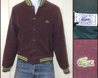 1980s Izod Lacoste alligator corduroy bomber baseball jacket size small faded plum purple green quilted lining striped cuffs preppy