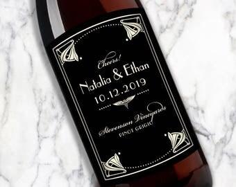 Customized Wine Bottle Labels • Art Nouveau Border • Wedding