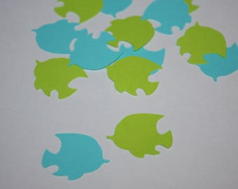 Tropical Fish Die Cut Confetti - 200 pieces Bright Green and Blue