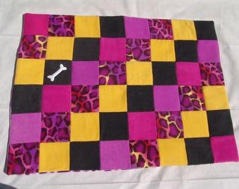 Medium fleece dog blanket - purple animal print