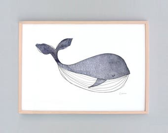 Small Whale Nursery,  Baby Wall Art, Nursery Art, Whale Wall Prints, Nautical Decor, Whale  Baby Whale Art Baby Shower