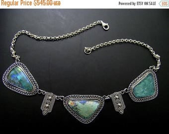 Summer Sale Sale 10% Refund Magnificent Hand Made Filigree One Of A Kind 925 silver roman glass necklace