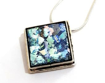 Beautiful 925 Sterling Silver Roman Glass Pendant Necklace